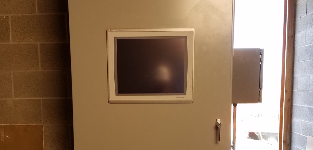 Control cabinet with doors closed